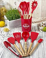 Набір кухонних силіконових лопаток Cooking Easy з настільної підставкою, 12 предметів начиння Червоний