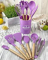 Набір кухонних силіконових лопаток Cooking Easy з настільної підставкою, 12 предметів начиння Фіолетовий