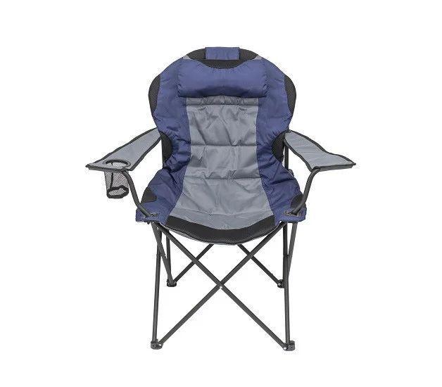 Стул складной для пикника с подстаканником серо-синий BST 590369