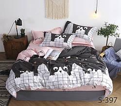 Двуспальный ЕВРО МАКСИ комплект постельного белья Сатин Люкс с компаньоном S397