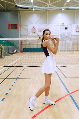 Сукня для тенісу No tie XS Молочна з баклажановою спинкою