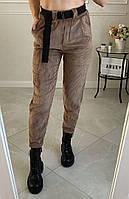 Женские стильные вельветовые брюки с поясом в комплекте Батал, фото 1