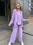 Жіночий прогулянковий костюм трока: штани, майка, сорочка 46-463, фото 2