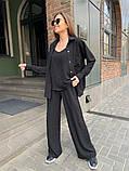 Жіночий прогулянковий костюм трока: штани, майка, сорочка 46-463, фото 4