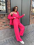 Жіночий прогулянковий костюм трока: штани, майка, сорочка 46-463, фото 7