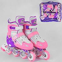 Детские ролики размер S 30-33 для девочек колёса PVC СВЕТ d6,5см Раздвижные ролики роликовые коньки Розовые