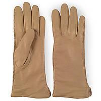 Женские перчатки ( кожаные, зимние, бежевые, мех шерстяной)