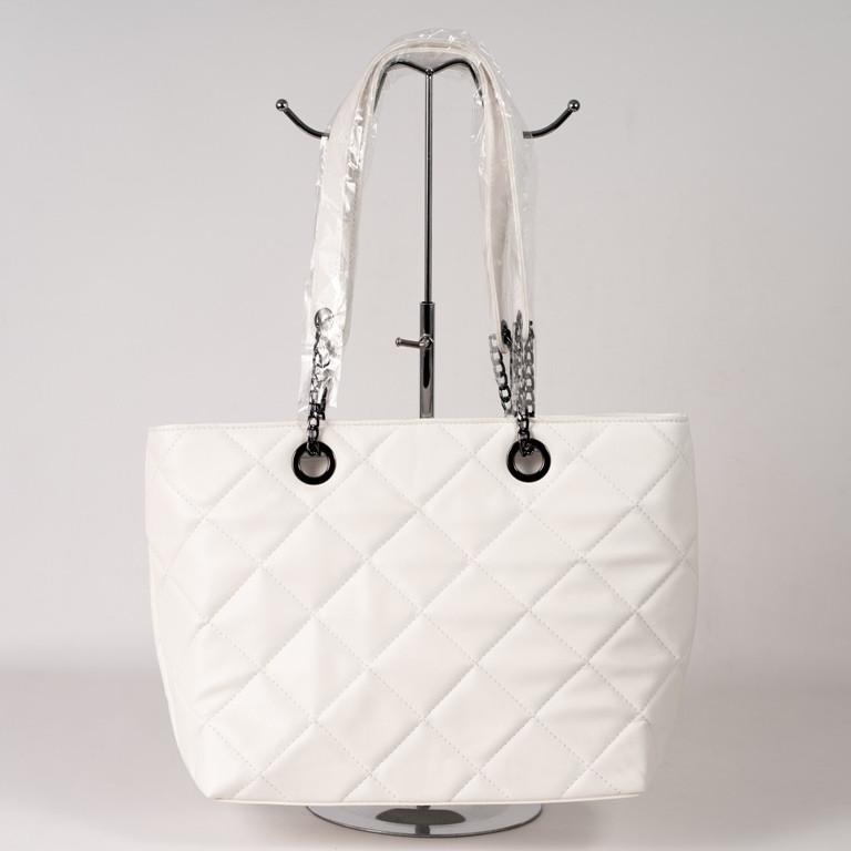 Белая женская сумка-корзина 08-21/5 с длинными ручками цепочками на плечо