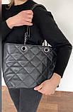 Белая женская сумка-корзина 08-21/5 с длинными ручками цепочками на плечо, фото 2