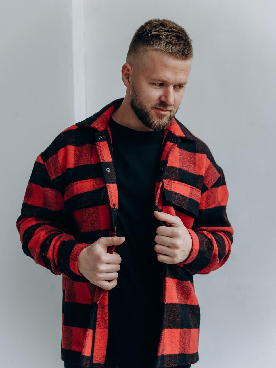 Картата чоловіча тепла байкова куртка-сорочка на гудзиках з кишенями червоно-сіра, фото 1