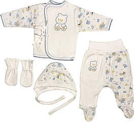 Костюм на хлопчика ріст 56 0-2 міс для новонароджених малюків комплект дитячий трикотажний інтерлок білий