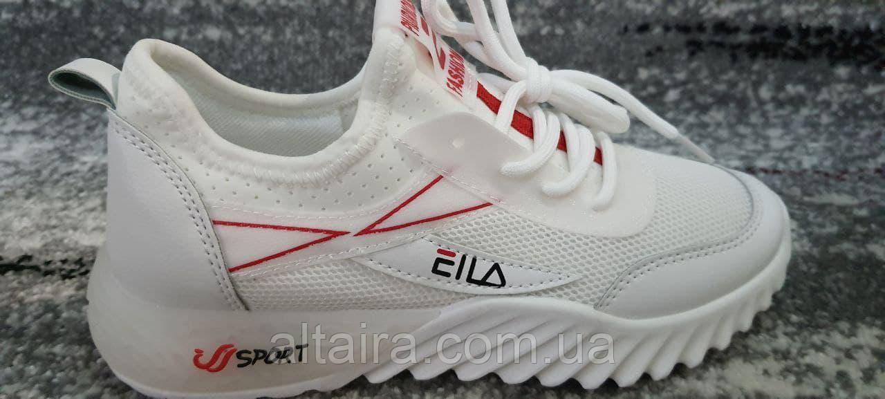 Стильные белые подростковые кроссовки мокасины сетка. Размеры 34-38