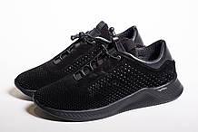 Кроссовки чёрные перфорированные замшевые