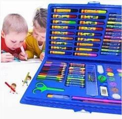 Детский набор для рисования 86 предметов в кейсе голубой