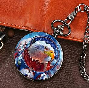 Мужские часы карманные на цепочке орёл, фото 2