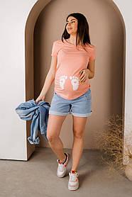 Стильные голубые джинсовые шорты для беременных