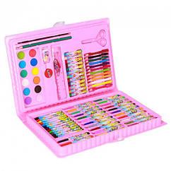 Детский набор для рисования 86 предметов в кейсе розовый