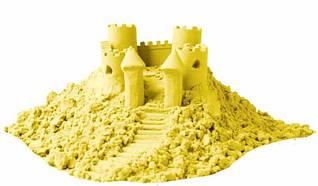 """Набір кінетичного піску """"Замок на піску"""" 1000 грамів у відрі, 6 форм, Жовтий """"PLB"""""""