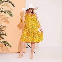 Стильне жіноче літнє плаття в квітковий принт і горошок з штапелю (Батал), фото 3