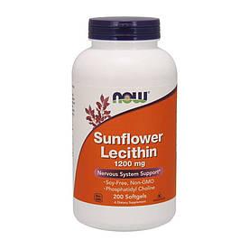 Натуральна добавка NOW Sunflower Lecithin 1200 mg, 200 капсул
