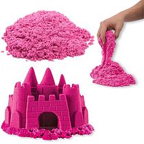 """Набір кінетичного піску """"Замок на піску"""" 1000 грамів у відрі, 6 форм, Рожевий """"PLB"""""""