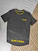 Однотонная футболка мальчику с надписью рост 140 164