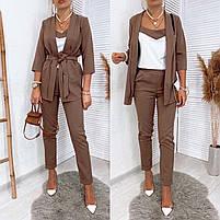 Женский модный брючный костюм-тройка в расцветках (Норма и батал), фото 3