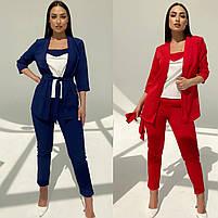 Женский модный брючный костюм-тройка в расцветках (Норма и батал), фото 7