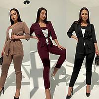 Женский модный брючный костюм-тройка в расцветках (Норма и батал), фото 9