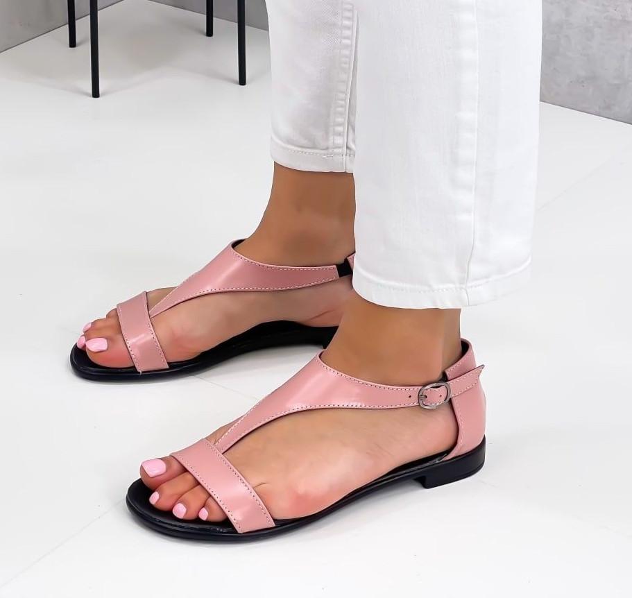 Босоніжки жіночі рожеві / пудра натуральна шкіра