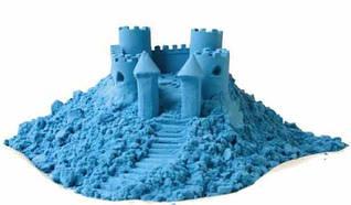 """Набір кінетичного піску """"Замок на піску"""" 500 грамів у відрі, 5 форм, Синій """"PLB"""""""