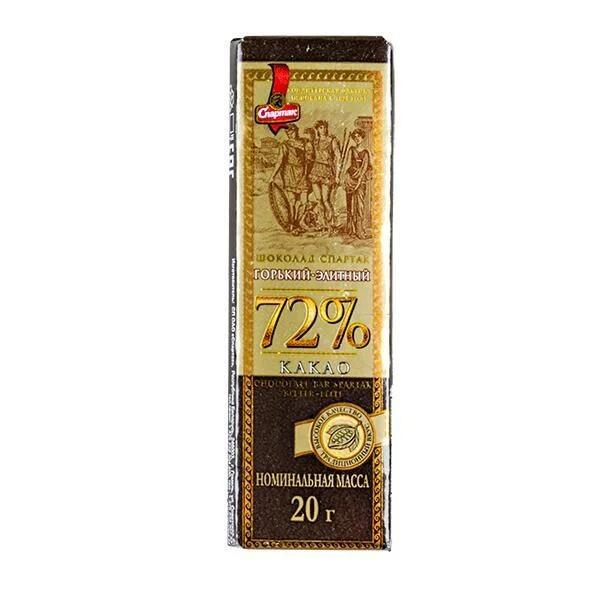 Черный шоколад Спартак Элитный 72% какао 20 грамм