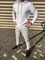 Спортивный костюм мужской худи+штаны белый-меланж
