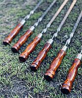 Шампур плоский з дерев'яною ручкою з нержавіючої сталі, ручна робота (3 мм), фото 1