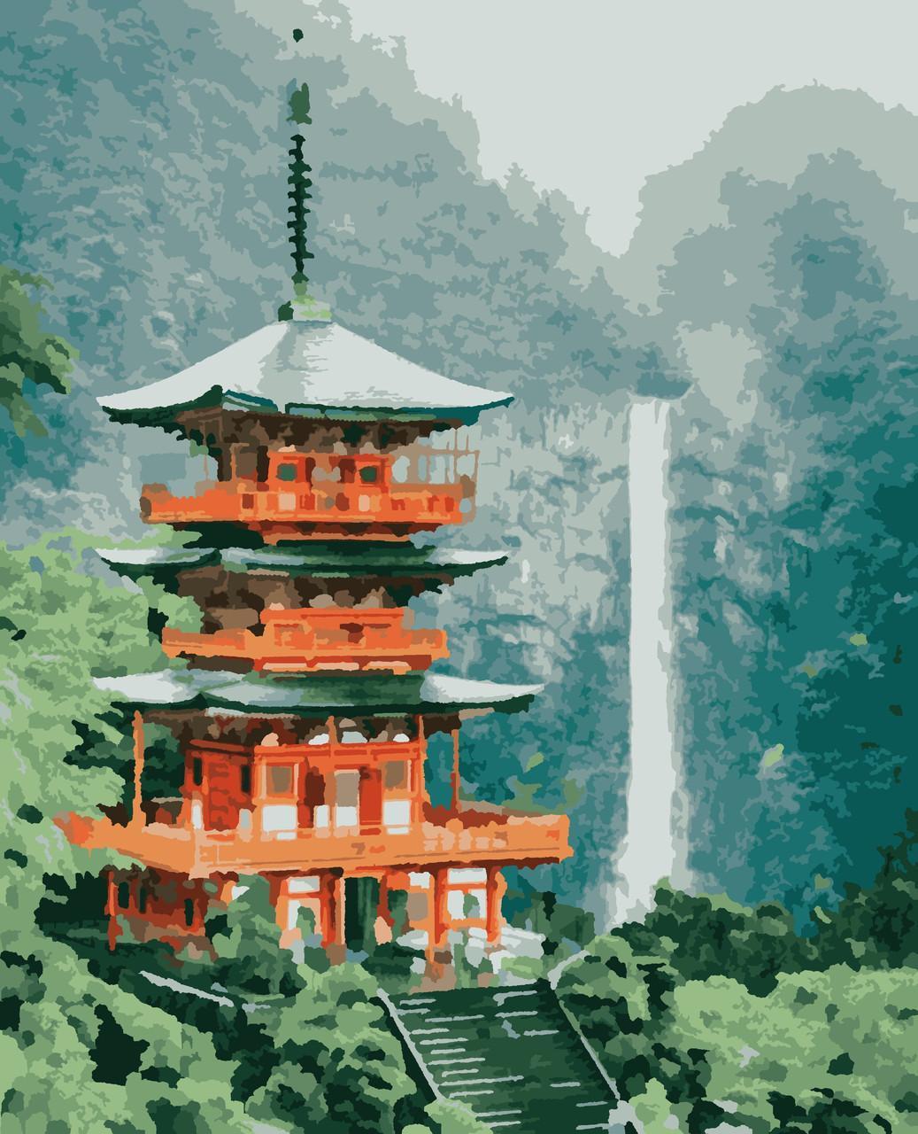 Картина по номерам рисование Пагода PNX6210 Artissimo 50х60см розпис за номерами набір, фарби, пензлі, полотно