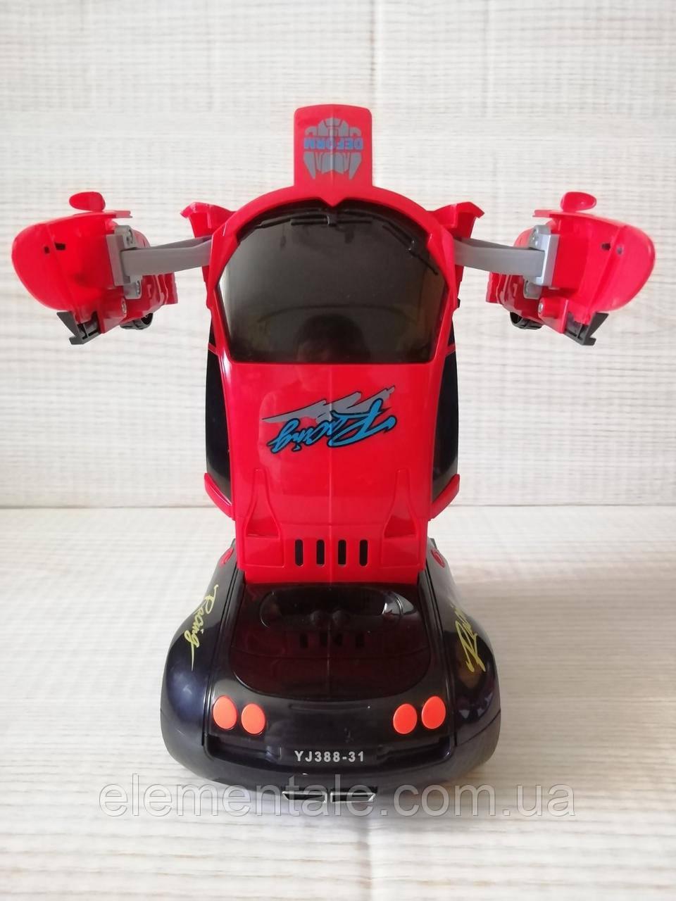Машинка трансформер Deform Robot музыкальная светящаяся красная для детей