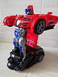 Машинка трансформер Deform Robot музыкальная светящаяся красная для детей, фото 4