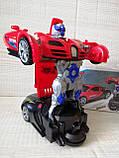 Машинка трансформер Deform Robot музыкальная светящаяся красная для детей, фото 6