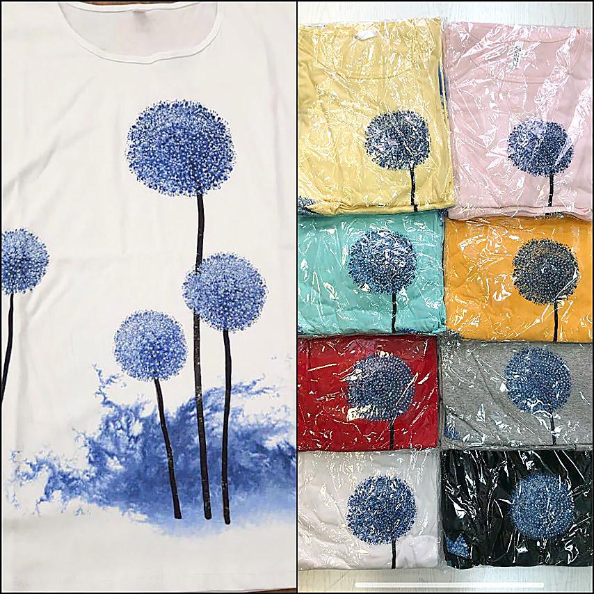 Річна батальна футболка з квітами 52-60 (в кольорах)