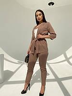Жіночий модний брючний костюм-трійка в кольорах (Батал), фото 2