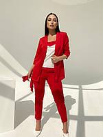 Жіночий модний брючний костюм-трійка в кольорах (Батал), фото 3