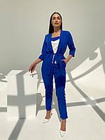 Жіночий модний брючний костюм-трійка в кольорах (Батал), фото 7