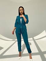 Жіночий модний брючний костюм-трійка в кольорах (Батал), фото 9