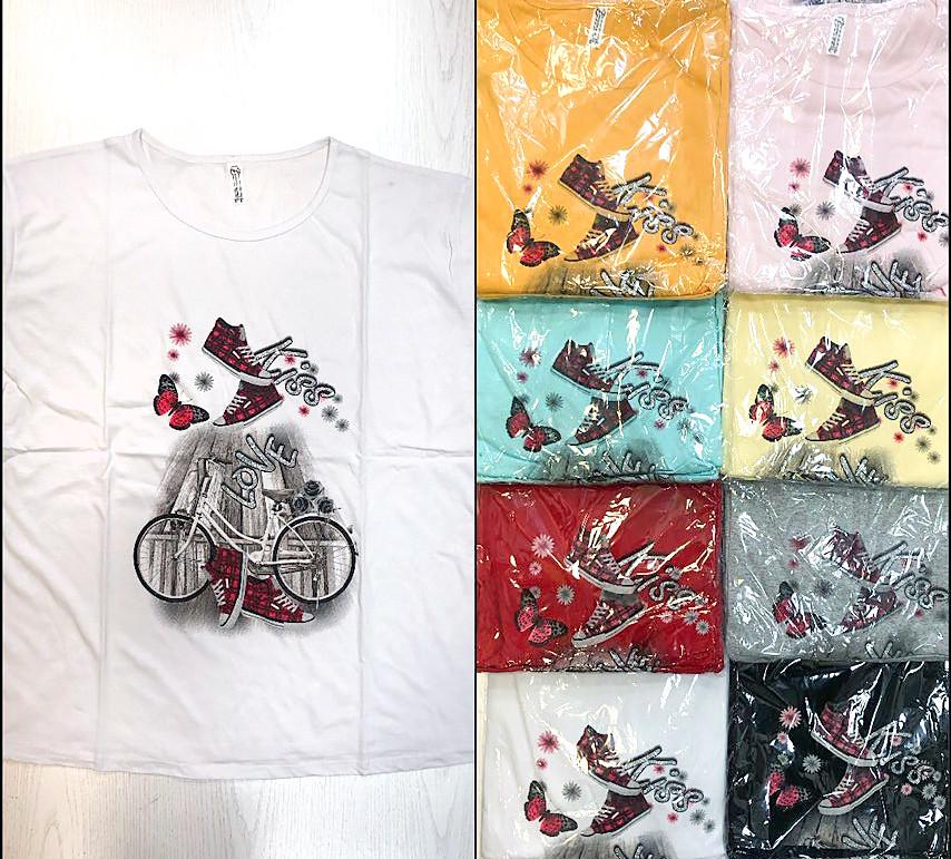 Молодежная футболка женская батал 52-60 (в расцветках)