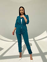 Женский модный брючный костюм-тройка в расцветках (Батал), фото 2