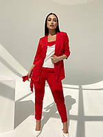 Женский модный брючный костюм-тройка в расцветках (Батал), фото 6