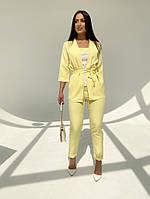 Женский модный брючный костюм-тройка в расцветках (Батал), фото 8