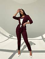 Женский модный брючный костюм-тройка в расцветках (Батал), фото 10