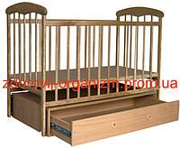 """Детская кроватка """"Наталка"""" Светлая (с маятником и ящиком)"""