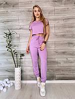 Женский летний спортивный костюм из двунити с укороченным топом (Норма), фото 3